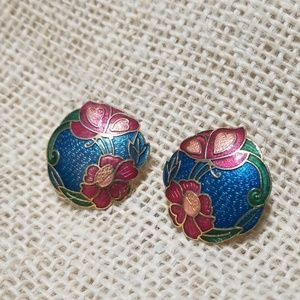 3/$10 Vintage Cloisonne/ Enamel Stud Earrings